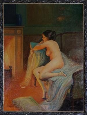 Autor nieokreślony, k. XIX / XX w., Akt przed kominkiem