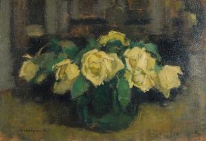 Alfons KARPIŃSKI (1875-1961), Żółte róże w wazonie
