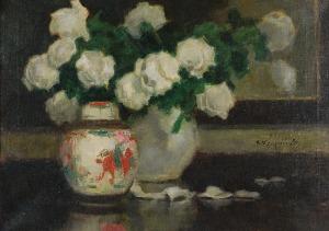 Alfons KARPIŃSKI (1875-1961), Białe róże w wazonie