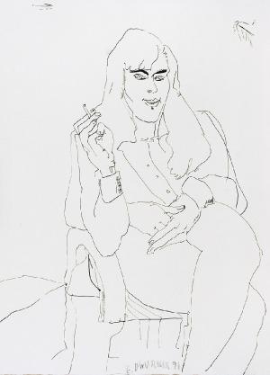 Edward DWURNIK (ur. 1943), Portret kobiety z trzema dłońmi, 1991