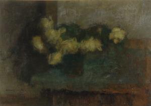 Alfons KARPIŃSKI (1875-1961), Żółte róże o zmroku