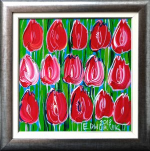 Edward Dwurnik, Czerwone tulipany, 2018