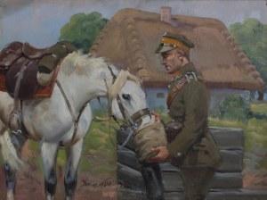Jerzy Kossak (1886-1955) Ułan pojący konia
