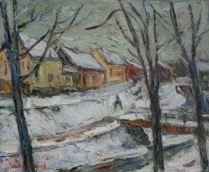 Józef Wasiołek (1921-2008) Pejzaż zimowy z zabudowaniami