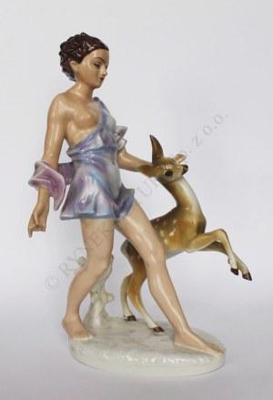 Figura Kobieta z sarną (Polska, Katowice, l.60.XX w.)
