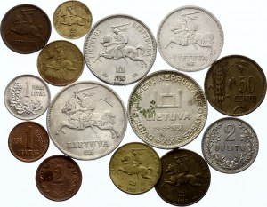 Lithuania Lot of 14 Coins with Silver