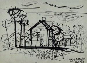 Kazimierz PODSADECKI (1904-1970), Pejzaż z zabudowaniami, 1955
