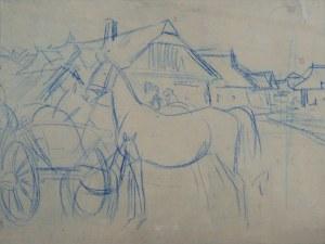 Juliusz HOLZMÜLLER (1876 – 1932), Koń przy wozie