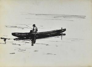 Ludwik Antoni MACIĄG (1920-2007), Wędkarz łowiący na jeziorze