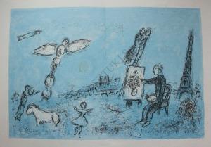 "Marc Chagall (1887-1985), Malarz i jego sobowtór(""Derriere le Mirroir"" no.246, 1981, Mourlot #992)"