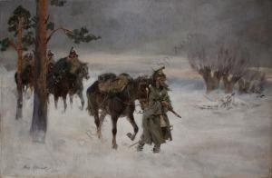 Jerzy Kossak (1886-1955), Odwrót spod Moskwy (1933)
