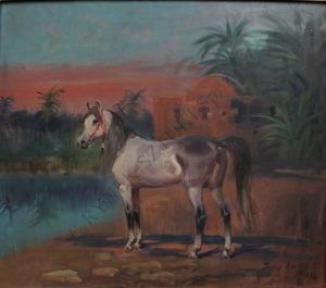 Jerzy Kossak (1886-1955), Koń na tle oazy (1941)