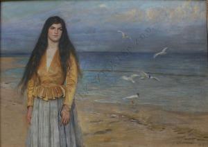 Antoni Piotrowski (1853-1924), Kobieta na tle morza (1917)