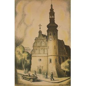"""Władysław Roguski (1890-1940), Kościół Klarysek w Bydgoszczy(z teki """"XIV Zjazd Lekarzy i Przyrodników Polskich w Poznaniu"""", 1933)"""