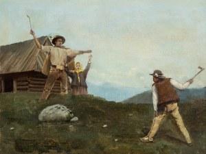 Kazimierz Bieńkowski (1863-1918), Scena rodzajowa z góralami, 1896 r,