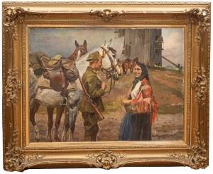 Wojciech Kossak (1856 Paryż - 1942 Kraków), Spotkanie przy młynie, 1927 r.