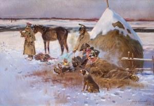 Jerzy Kossak (1886 Kraków - 1955 tamże), Odpoczynek przy ognisku- epizod z wojen napoleońskich, 1938 r.