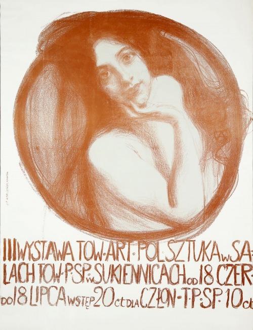 """Teodor AXENTOWICZ (1859-1938), Plakat III wystawy Towarzystwa Artystów Polskich """"SZTUKA"""", 1899"""