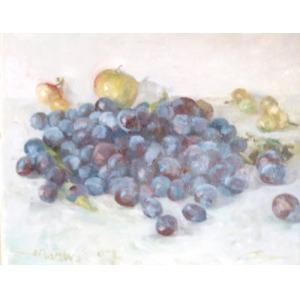 Stanisław MAZUŚ (ur.1940), Węgierki – martwa natura ze śliwkami i jabłkami, 2007