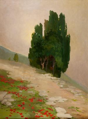 IwanTRUSZ(1869-1940), Pejzaż z cyprysami