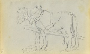 Jacek MALCZEWSKI (1854-1929), Para koni stojących w zaprzęgu