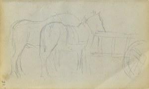 Jacek MALCZEWSKI (1854-1929), Konie na popasie przy drabiniastym wozie