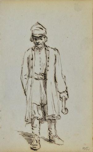 Jacek MALCZEWSKI (1854-1929), Postać stojącego mężczyzny trzymającego w lewej ręce laskę