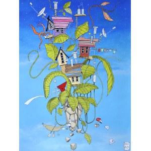 Dariusz Franciszek Różyc (ur. 1978), Pejzaż z dziwną roślinką i łódką, z cyklu: