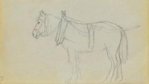 Jacek MALCZEWSKI (1854-1929), Koń stojący ukazany w zaprzęgu ukazany z lewego boku