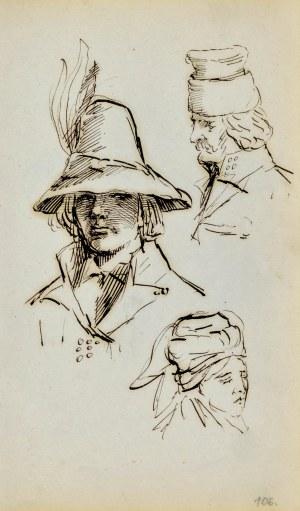 Jacek MALCZEWSKI (1854-1929), Studia głów: młodzieńca, wieśniaczki, człopa