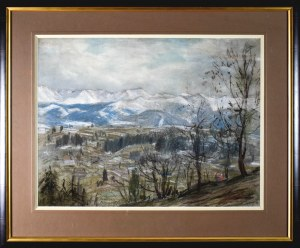 Władysław SERAFIN (1905-1988), Pejzaż z widokiem na ośnieżone góry