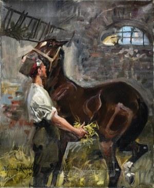 Wojciech KOSSAK (1856-1942), W stajni, 1932