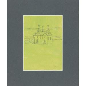Nowosielski Jerzy (1923 - 2011), Cerkiew murowana na zielonym tle / na odwrocie szkic wsi z drewnianą cerkwią zrębową