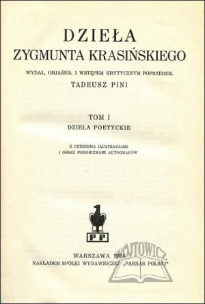 KRASIŃSKI Zygmunt, Dzieła.