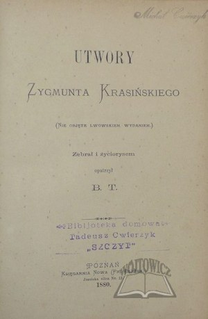 KRASIŃSKI Zygmunt, Utwory.