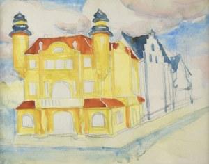 Stanisław KAMOCKI (1875-1944), Dom w mieście i fragment zabudowy ulicy – studium perspektywy, ok. 1898