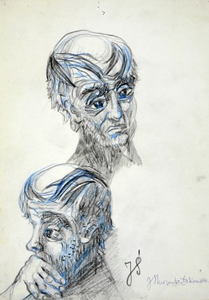 Janina MUSZANKA - ŁAKOMSKA (1920-1982), Szkice głów mężczyzny – Portret J. Ś.