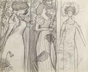 Stanisław KAMOCKI (1875-1944), Studia kobiety w słonecznikach, zarys kompozycji wielopostaciowej, ok. 1895