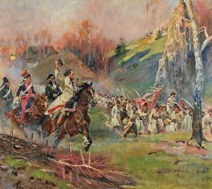 Wojciech KOSSAK (1857-1942), Kościuszko prowadzi kosynierów do ataku - Kościuszko pod Racławicami, 1924