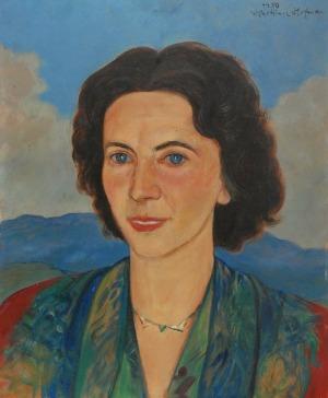 Wlastimil HOFMAN (1881-1970), Portret kobiety na tle gór, 1950