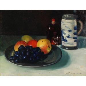 Artur WASNER (1887-1939), Martwa natura z kuflem i śliwkami