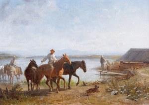 Franz Quaglio (1844-1920), Popas koni nad wodą, 1887