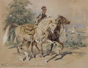 Kossak Juliusz, JEŹDZIEC Z LUZAKIEM KASZTELAŃSKIM, OK. 1880