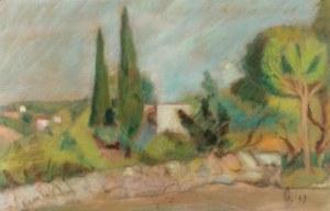 Nathan GRUNSWEIGH (1880-1956) - przypisywany, Pejzaż z cyprysami, 1949