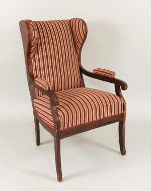 Fotel tzw. uszak w stylu biedermeier