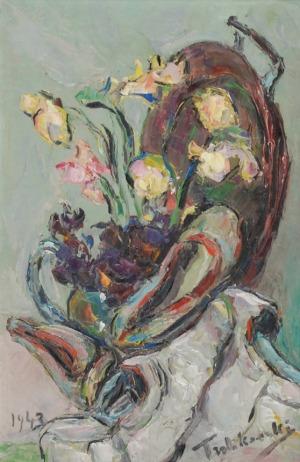 Włodzimierz TERLIKOWSKI (1873-1951), Martwa natura z kwiatami i pantofelkami, 1943