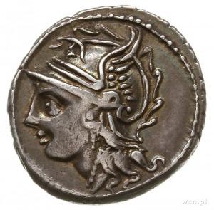 denar, Rzym; Aw: Głowa Romy w hełmie w lewo; Rw: Wiktor...