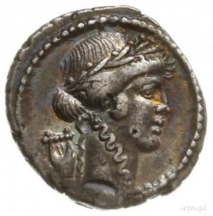 denar, Rzym; Aw: Głowa Apolla w wieńcu laurowym w prawo...