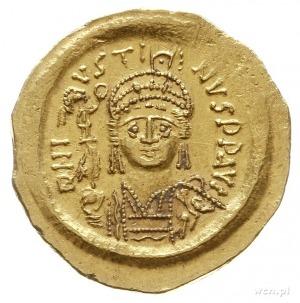 solidus ok. 566, Konstantynopol; Aw: Popiersie cesarza ...