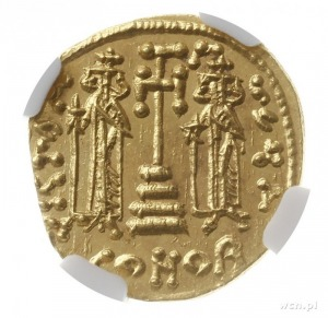 solidus 674-681, Konstantynopol; Aw: Popiersie cesarza ...
